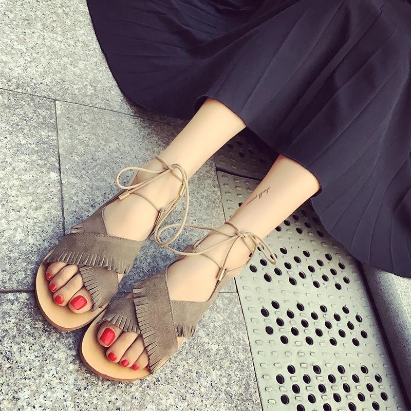 甜美小女生平底女鞋舒適流蘇腳腕細帶平跟涼鞋潮尖頭高跟鞋厚底涼鞋厚底跟鞋楔形涼鞋楔形跟鞋娃娃