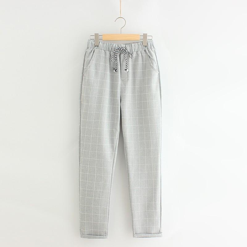 棉麻女褲 薄款九分褲寬鬆學生亞麻料9 分哈倫褲 休閒長褲子