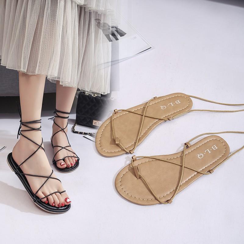2017 波西米亞羅馬綁帶涼鞋女夏平底夾趾沙灘鞋夾腳系帶涼靴子
