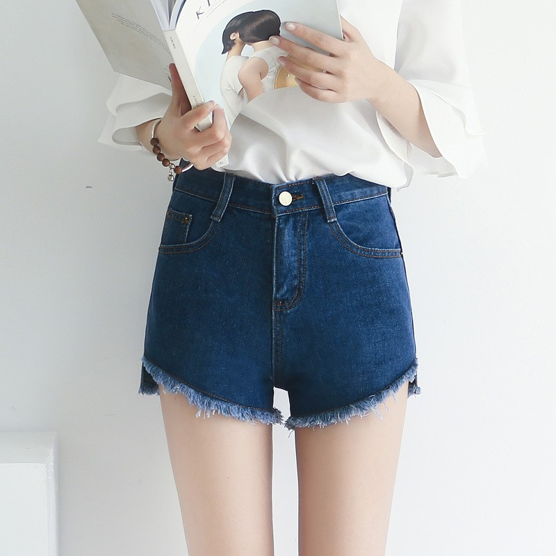 三色高腰毛邊牛仔短褲女 短褲