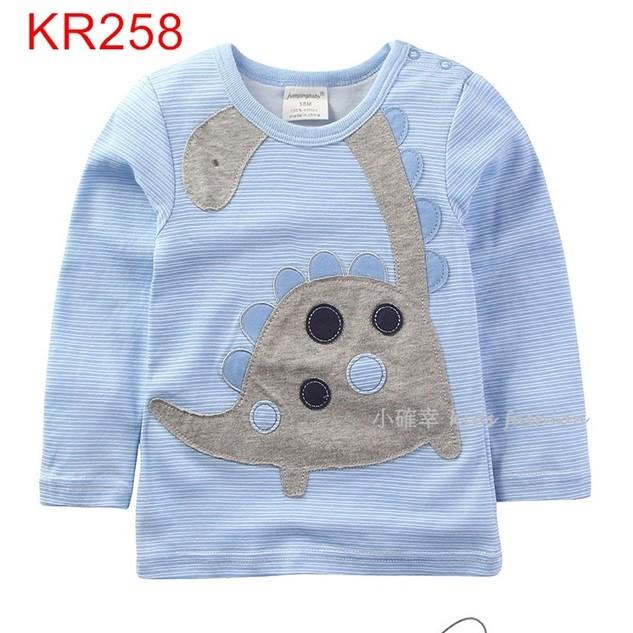 小確幸衣童館KR258 款純棉恐龍長頸龍雷龍精美刺繡貼布水藍線條長袖T