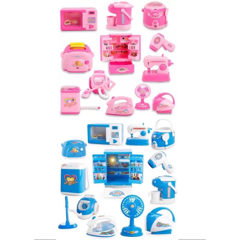 12 件 套裝廚房過家家酒兒童玩具仿真迷你小家電聲光家電男孩女孩兒童玩具扮家家酒微波爐麵包