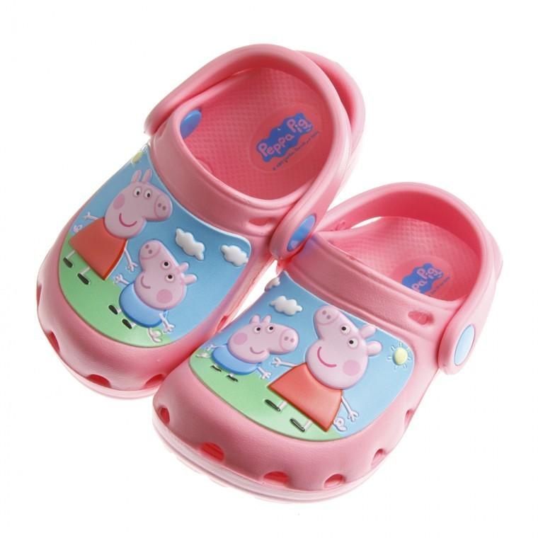 ~51 童鞋~粉紅豬小妹佩佩豬與喬治粉色布希鞋15 20 公分