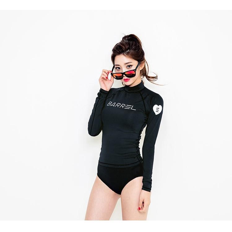 2 件套2 件式短褲衝浪衣長袖分體高領泳衣潛水衣衝浪防曬泳裝防曬潛水浮潛spa 溫泉