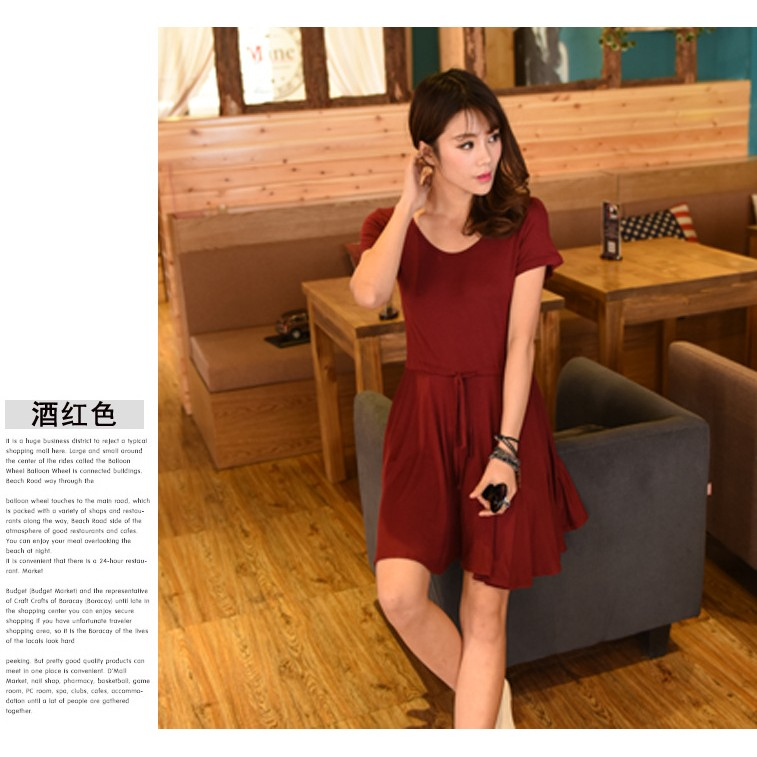 特惠199 酒紅色穿起來非常有氣質很好看喔有袖舒適柔軟莫代爾棉抽繩修飾隨性大方自然垂墜連身