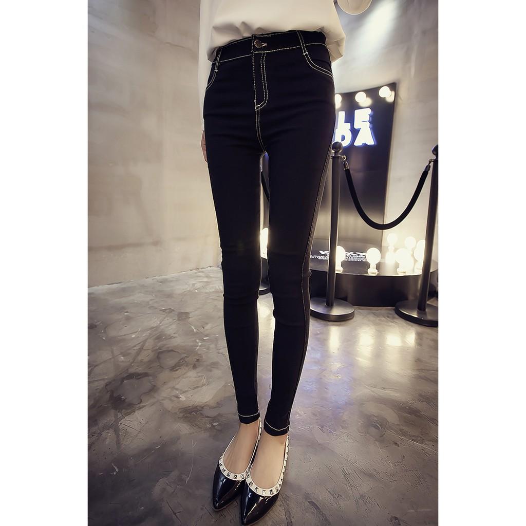 黑色破洞牛仔褲女 九分學生高腰彈力修身小腳顯瘦鉛筆褲子