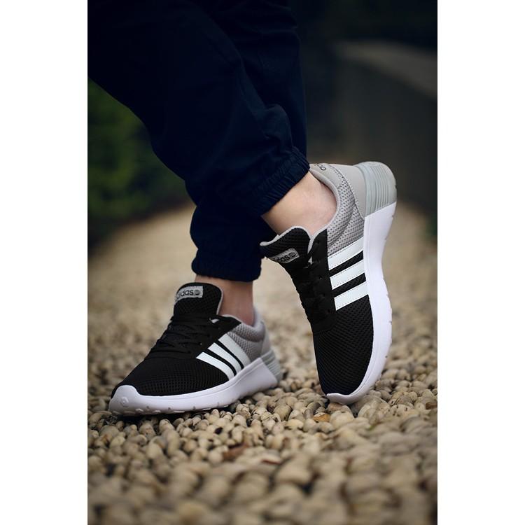 愛迪達Adidas NEO 世界之星網布男女鞋情侶慢跑鞋 鞋黑白灰
