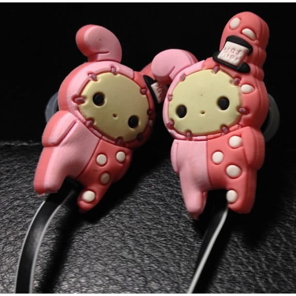 憂傷馬戲團粉紅團長兔卡通 耳塞式耳機