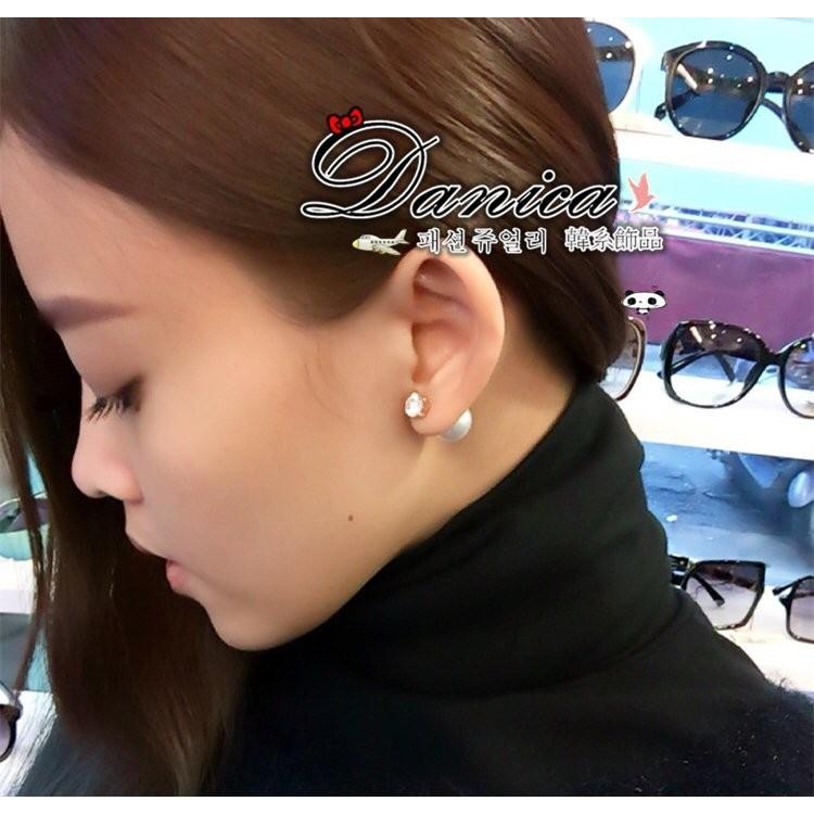❤耳環❤韓國 氣質甜美閃亮百搭小巧皇冠六爪珍珠水晶2 用耳環K90546  價Danica