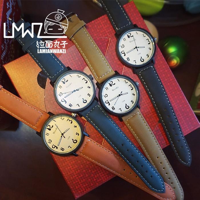 ~格格部落~韓國ulzzang 款簡約森系復古圓盤 百搭男女情侶手表學生表