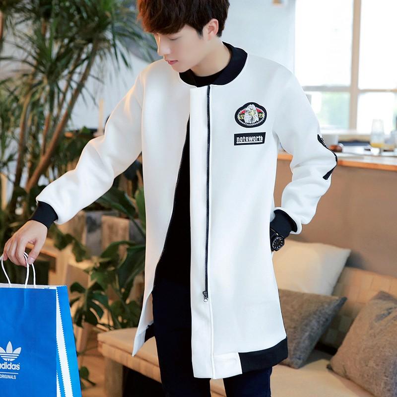 韓式服飾 男士加厚風衣中長款春秋外套 潮修身學生大衣薄款 披風