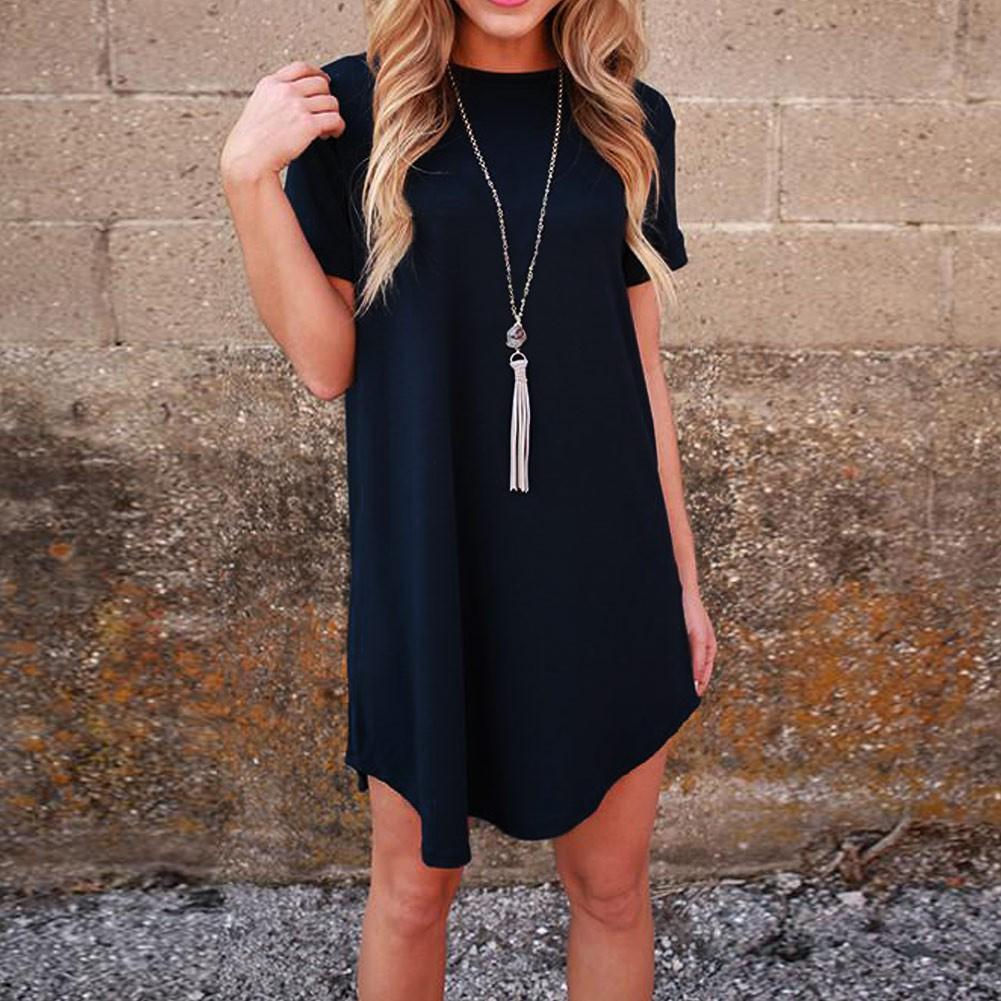 女裝 簡約 連衣裙純色翻袖圓領短袖弧形下擺百搭迷妳連衣裙連衣裙圓領條紋裙