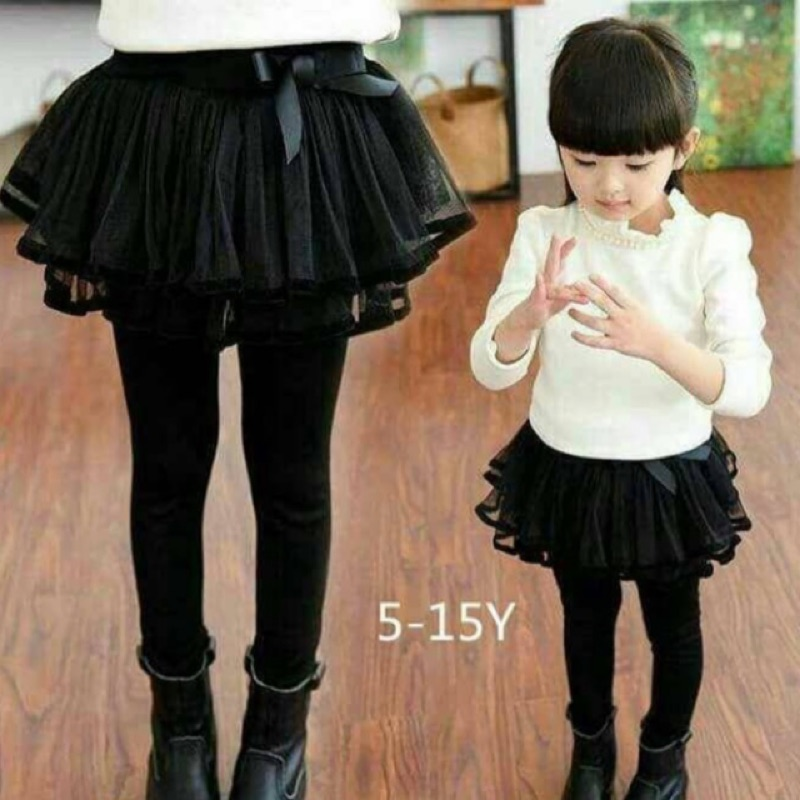 秋款女童黑色褲裙
