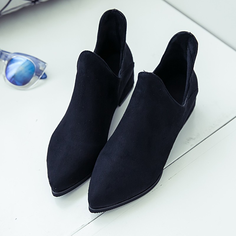 ~超實惠~ 2017 春秋單靴短靴女尖頭中跟粗跟英倫馬丁靴裸靴磨砂及踝靴子