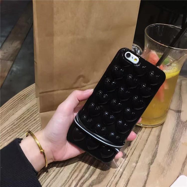 韓國亮黑色愛心立體桃心iPhone7 plus 手機殼蘋果6 6s 矽膠套防摔女
