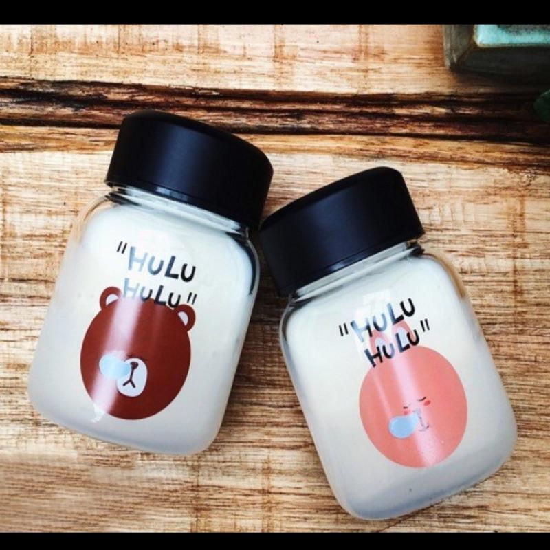 韓國玻璃杯可愛hulu 熊兔子迷你學生便攜膠囊水杯情侶閨蜜花茶瓶
