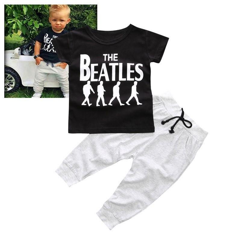 0 2 歲男童套裝T 恤上衣長褲