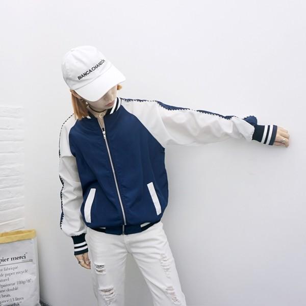 春夏學院風拼色插肩袖 薄款夾克棒球外套
