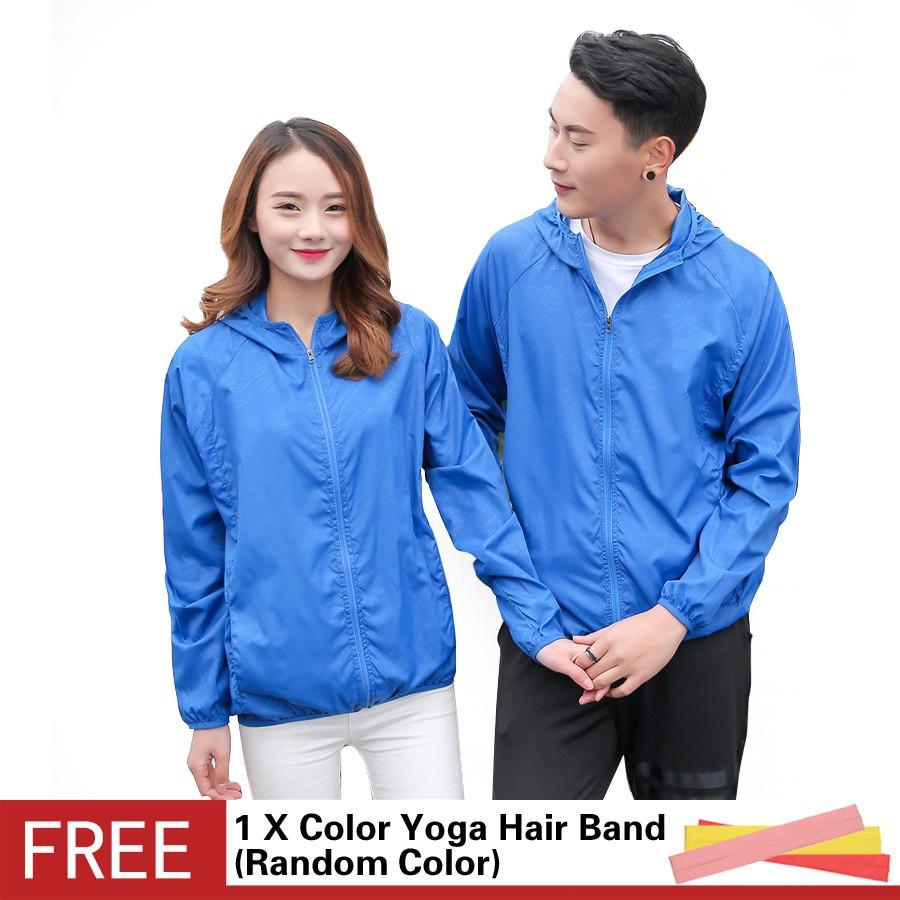超輕可折疊皮膚衣男女純色透氣速乾防風長袖衝鋒衣戶外連帽防曬衣寶藍色