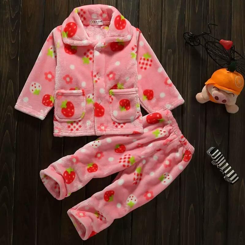秋 加厚兒童睡衣法蘭絨套裝中男女 小孩寶寶卡通珊瑚絨家居服