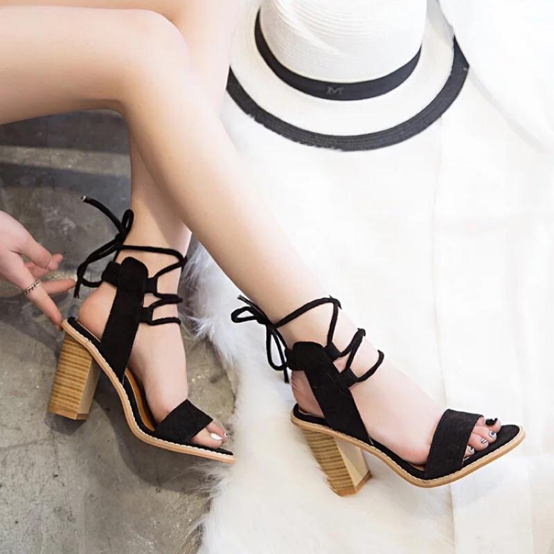 粗跟羅馬鞋露腳趾綁帶女鞋 顯瘦百搭春 高跟涼鞋