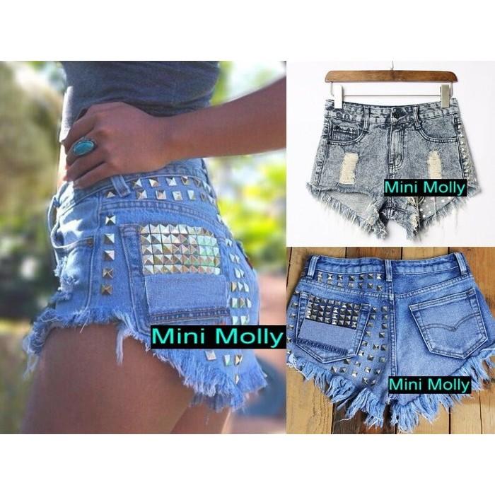 Mini Molly 嗆辣龐克搖滾風格鉚釘裝飾復古高腰磨口破洞 性感抽鬚牛仔單寧短褲熱褲