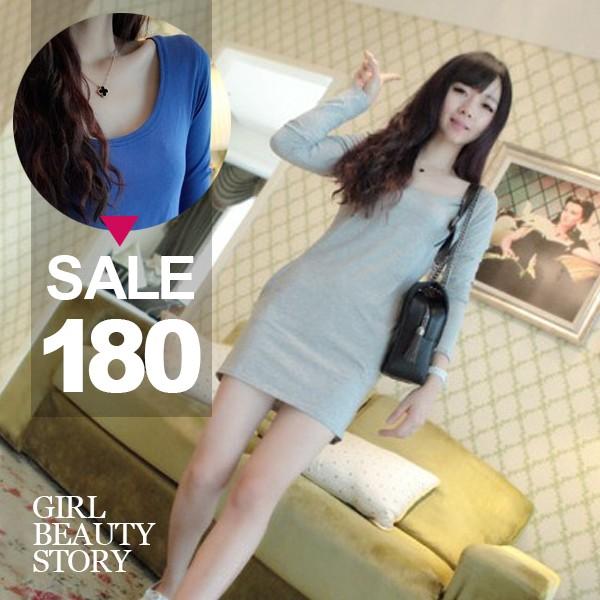 SISI ~L6075 ~浪漫唯美 圓領中長款長袖素色棉質修身顯瘦包臀T 緊身連身裙洋裝