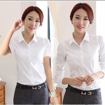 襯衫女長袖棉白襯衫學生職業女裝大碼長短袖白襯衫打底女襯衣