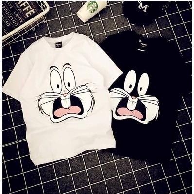 印花 復古兔子寬鬆純棉短袖t 恤正韓潮卡通衣服休閒 學生大碼衣著顯瘦上衣韓系