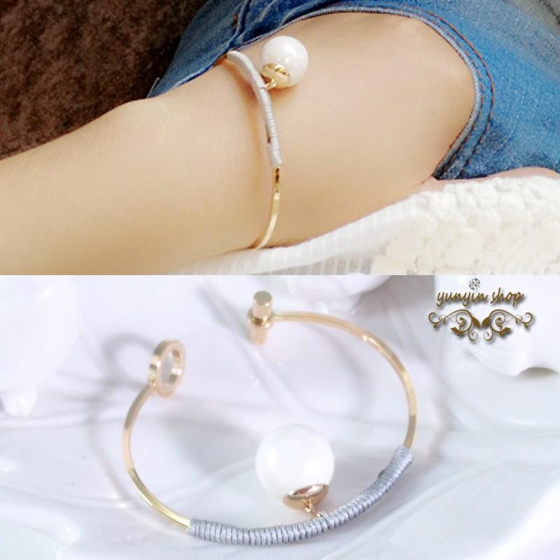 Yunyin SHOP 韓風耳環飾品 合金繞線大珍珠吊墜開口手鐲P055
