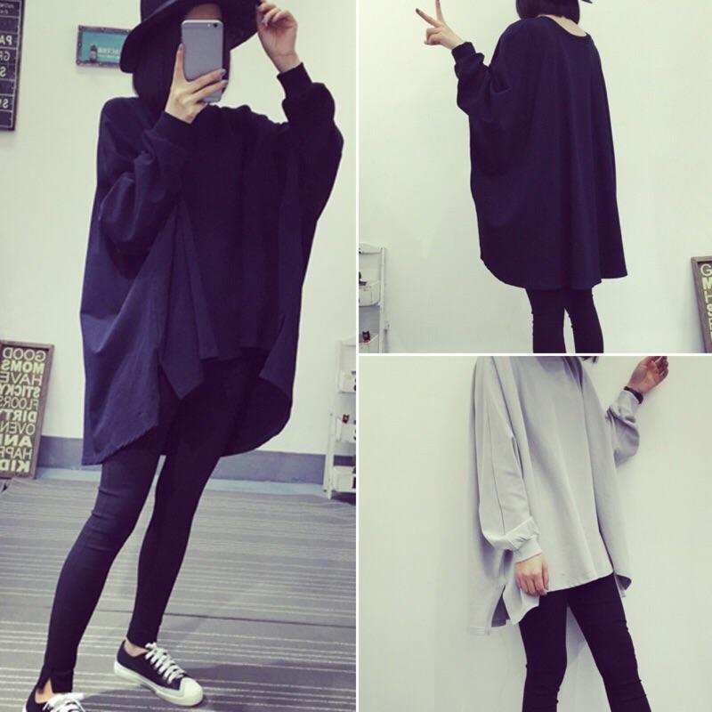 Tshow 女裝學生寬鬆中長款純色長袖T 恤大碼蝙蝠衫上衣