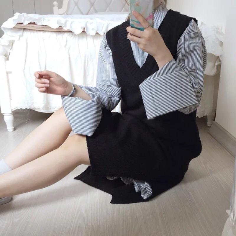 早秋款V 領針織背心裙ns002 黑米白深灰紫