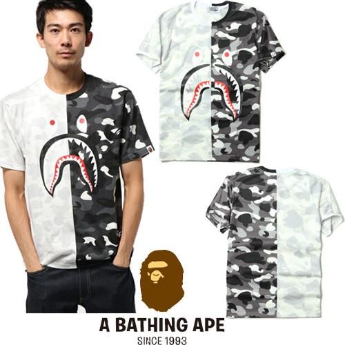 A BATHING APE 7219 款猿人日系街頭潮牌短袖潮牌星空迷彩鲨鱼男款短袖T 恤