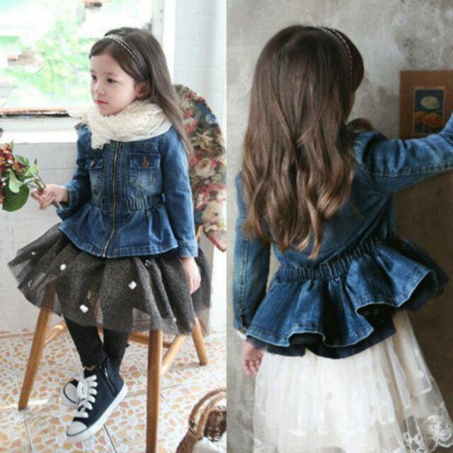 女童珍珠拉鏈牛仔上衣 牛仔外套