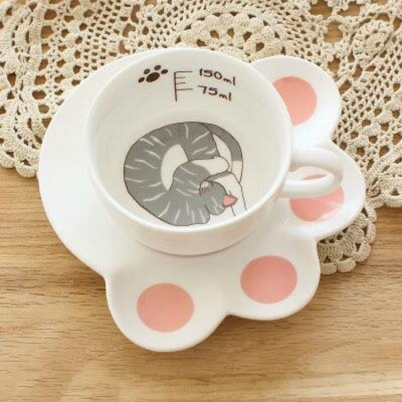 ~扭扭貓咪~肉球咖啡杯盤組灰底條紋Z015