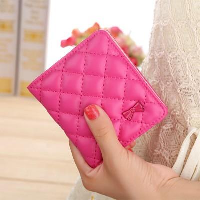軟面刺繡女士短款2 折錢包多卡位卡包零錢包