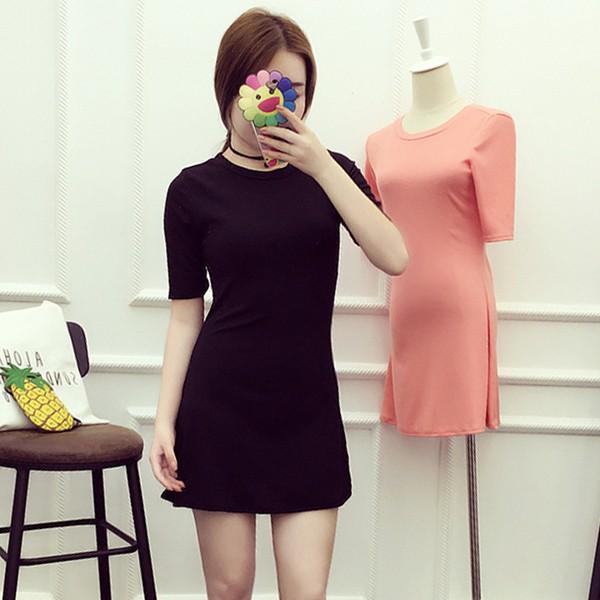 黑早秋  氣質純色顯瘦修身螺紋針織短袖打底裙短裙連衣裙子