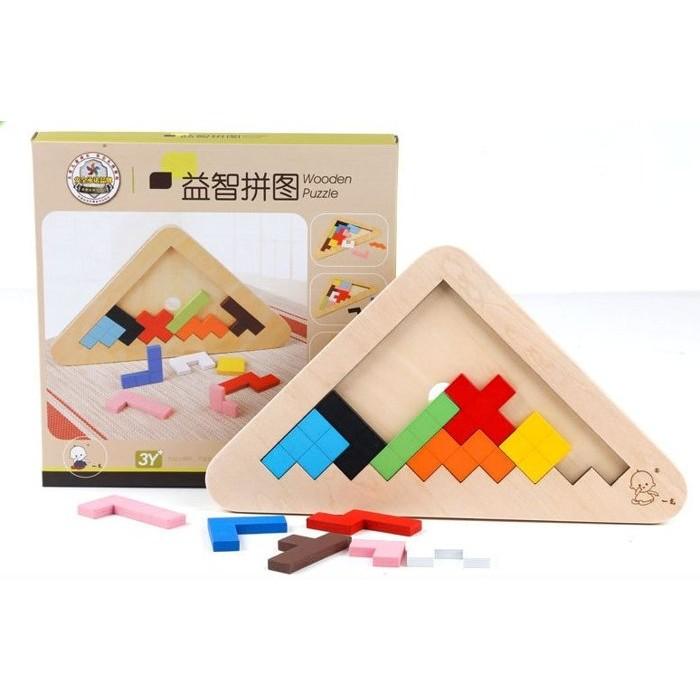 益智玩具~三角立體拼圖~木質玩具積木七巧板益智遊戲邏輯推理樂高積木啟蒙早教108 種拼法親