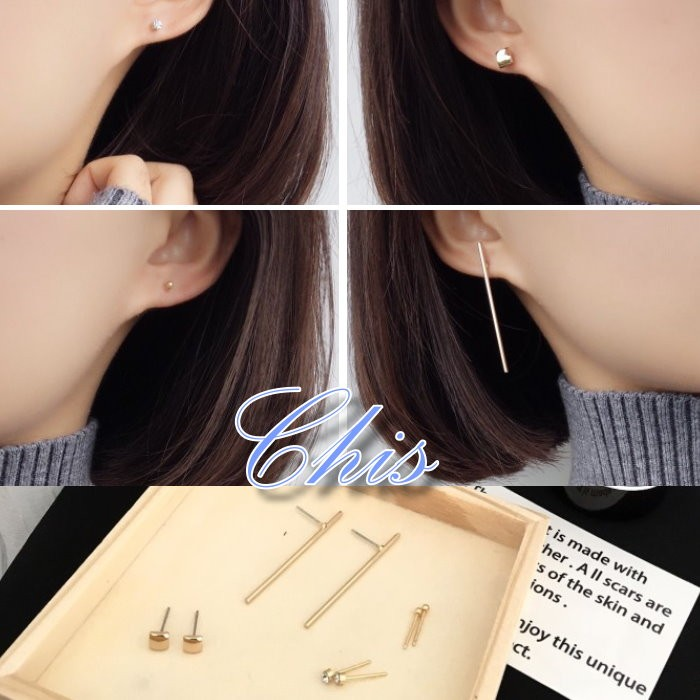 Chis Store ~ 耳環四對一組~韓國百搭幾何元素圓珠小鑽方塊一字水鑽珠珠金豆豆垂直
