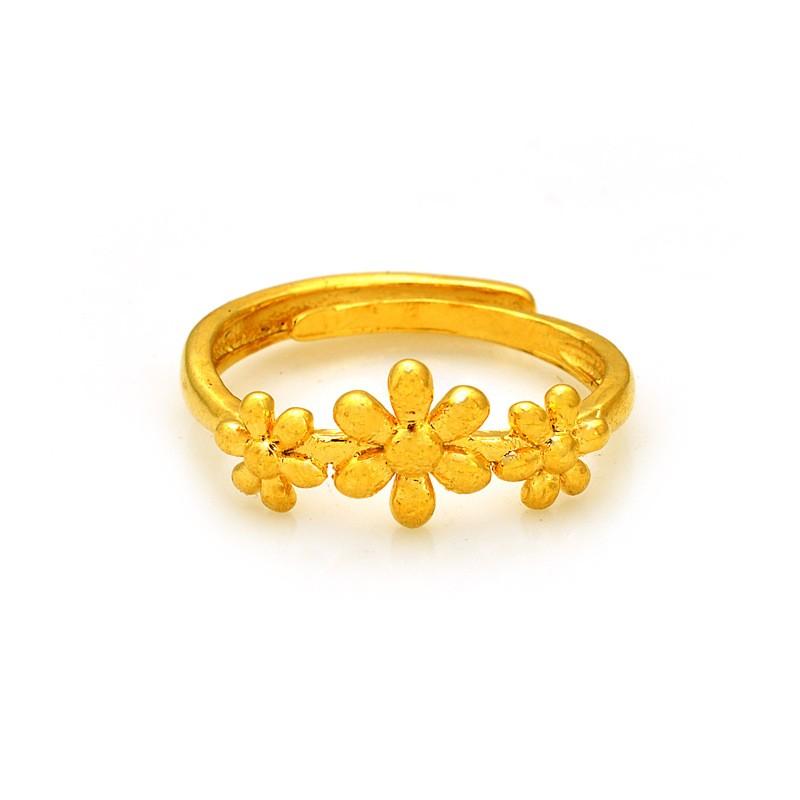 鍍24K 沙金項鏈防過敏女士花型戒指結婚訂婚情人節母親節父親節生日送禮