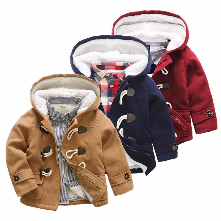 牛角扣毛呢大衣加厚冬裝2016 寶寶 外套兒童 男童連帽棉衣
