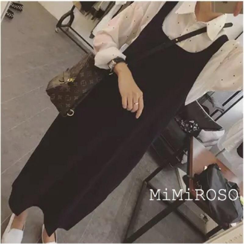 269 純黑色半長西裝布料開衩連身裙寬鬆口袋吊帶裙文青森女復古韓女裝