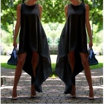 女裝無袖白色黑色不對稱下擺雪紡寬鬆沙灘長休閒連衣裙