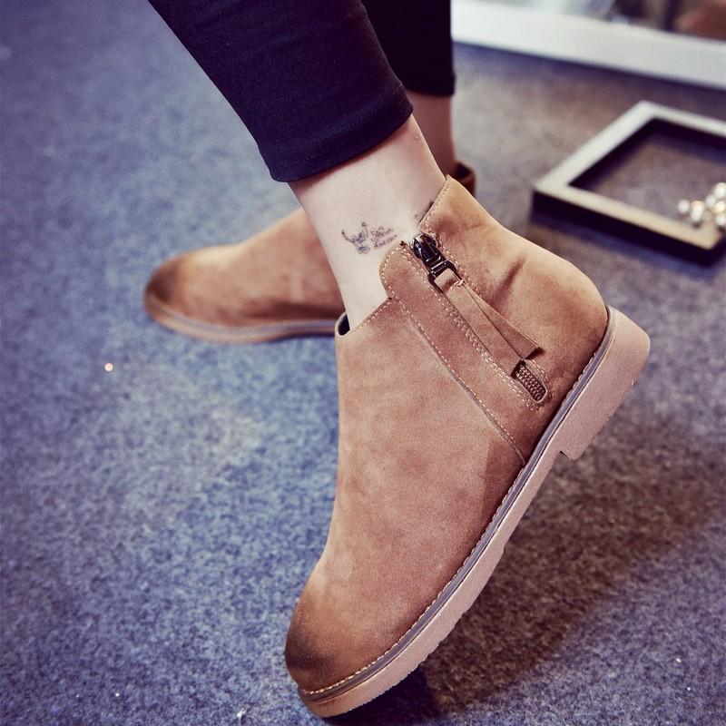 ~風雅軒~2016 復古平跟單靴女 平底側拉鏈馬丁靴女英倫風短靴學生女