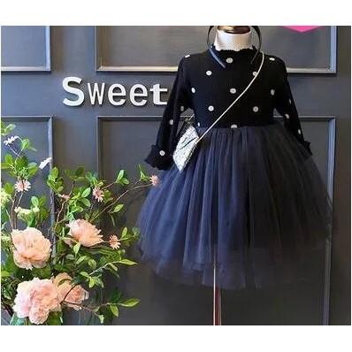 女童連衣裙2016  韩版波點木耳立领长袖拼接系带纱裙公主裙