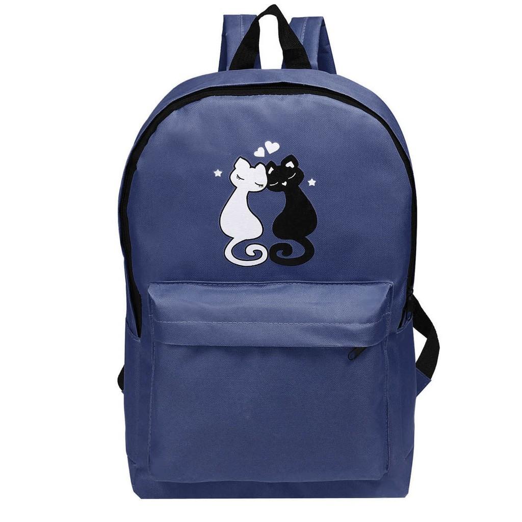 可愛黑白喵喵印花雙肩後背包