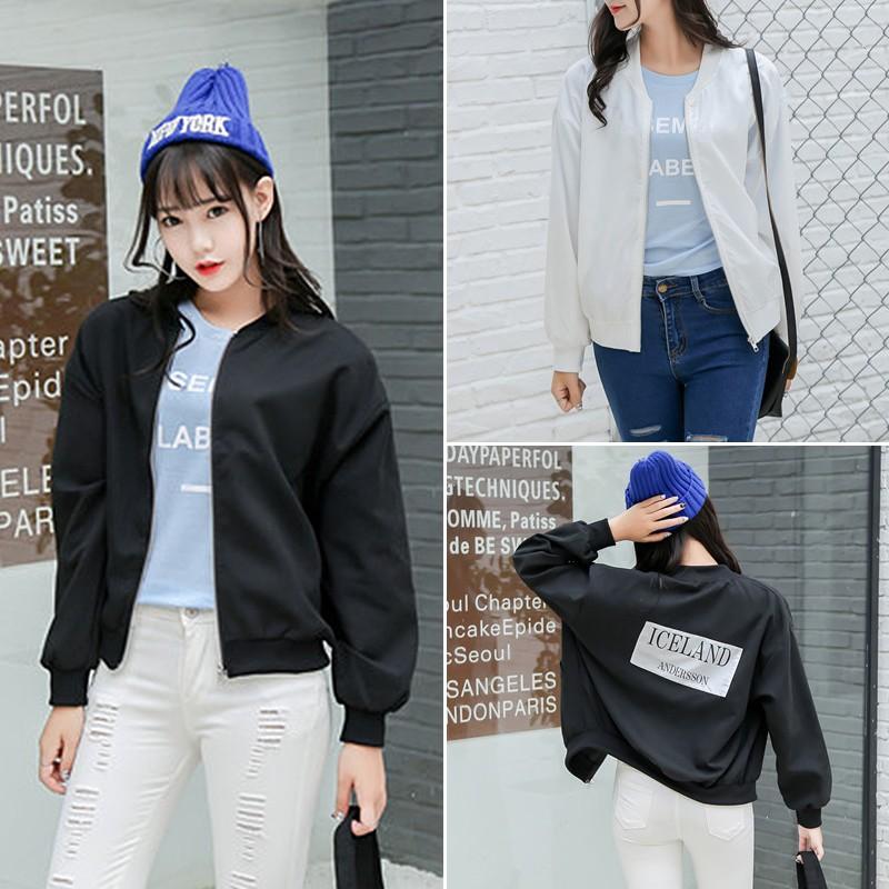 殺價丶棒球外套飛行外套 女裝chic 簡約帥氣貼布寬松棒球服女學院風閨蜜裝飛行服外套女