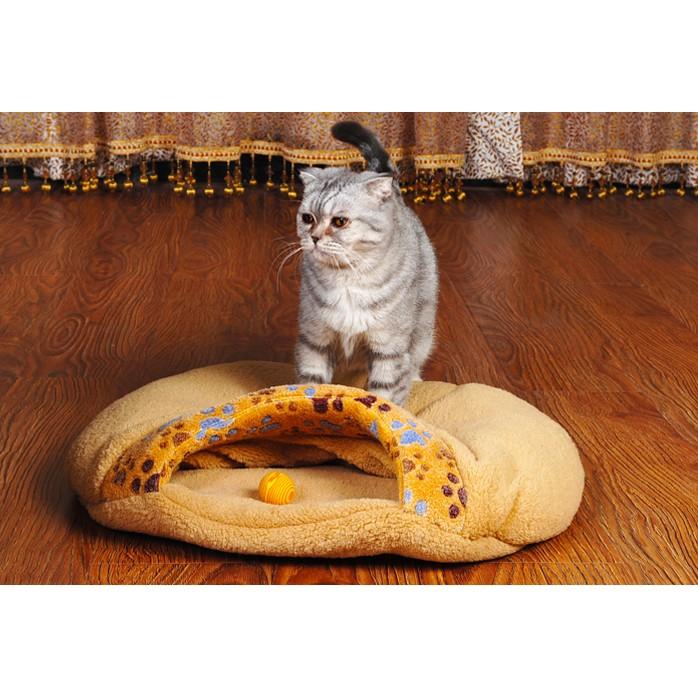 Jeerui 超厚超軟小爪印貓睡袋貓窩漢堡包式貓窩