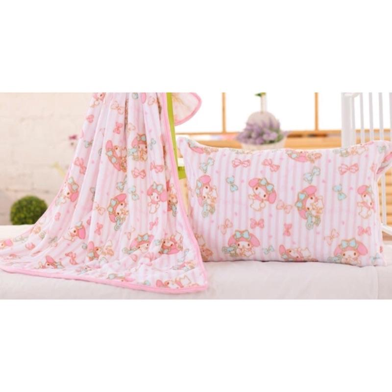 ~美樂蒂空調毯珊瑚絨毯子法蘭絨毛毯牀單毛巾被午睡單人雙人蓋毯