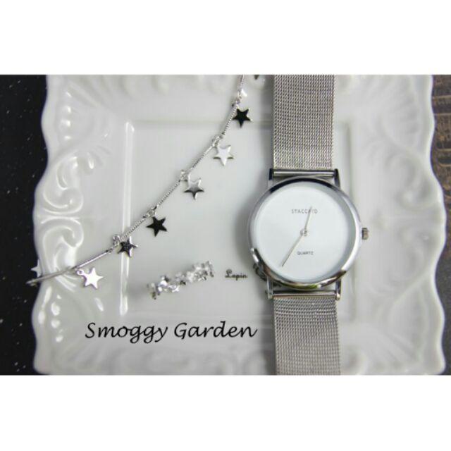 韓簡約風格繁星點點幾何五角星星五芒星垂墜螺旋線條串連手環手鍊銀